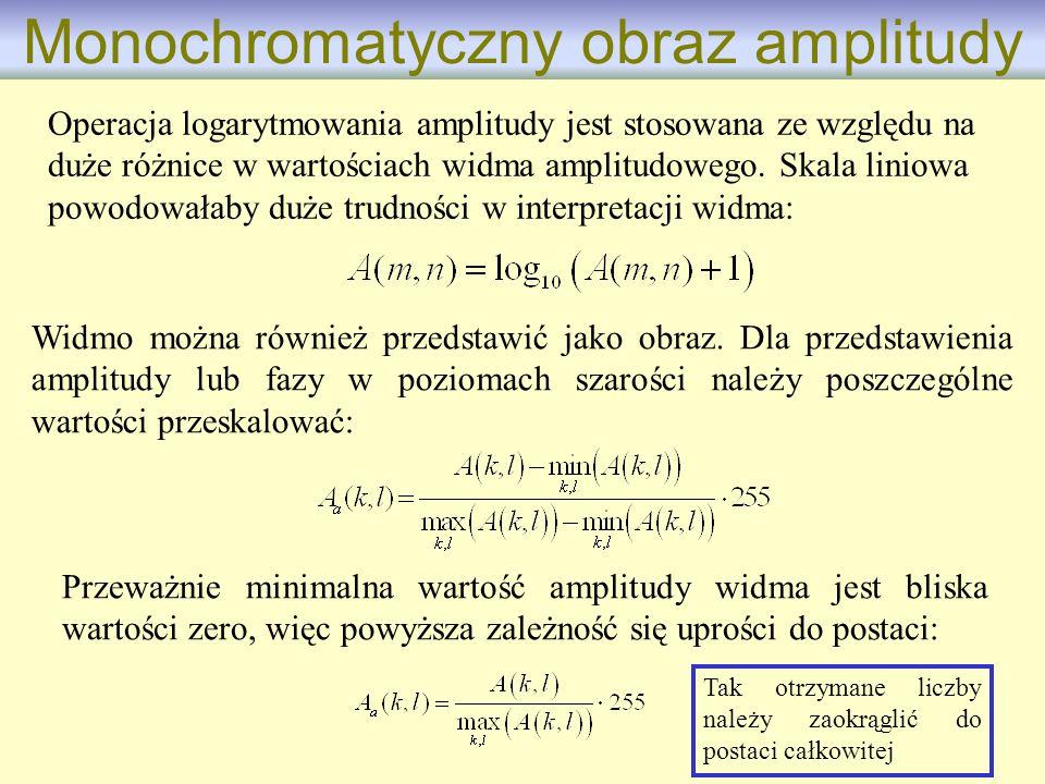 Widmo można również przedstawić jako obraz. Dla przedstawienia amplitudy lub fazy w poziomach szarości należy poszczególne wartości przeskalować: Oper