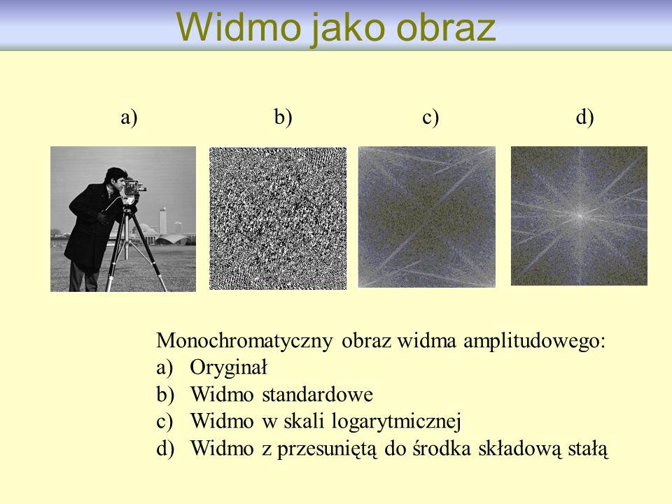 Monochromatyczny obraz widma amplitudowego: a)Oryginał b)Widmo standardowe c)Widmo w skali logarytmicznej d)Widmo z przesuniętą do środka składową sta