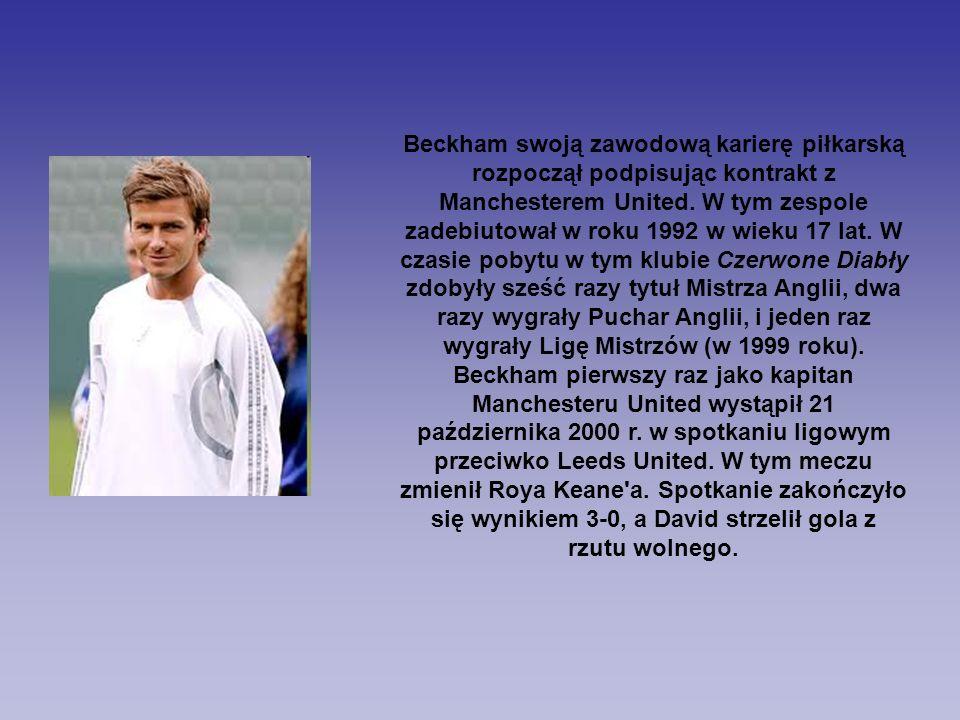 Beckham swoją zawodową karierę piłkarską rozpoczął podpisując kontrakt z Manchesterem United. W tym zespole zadebiutował w roku 1992 w wieku 17 lat. W
