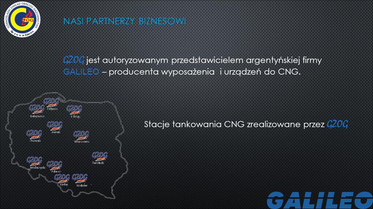 NASI PARTNERZY BIZNESOWI GZOG jest autoryzowanym przedstawicielem argentyńskiej firmy GALILEO – producenta wyposażenia i urządzeń do CNG. Stacje tanko