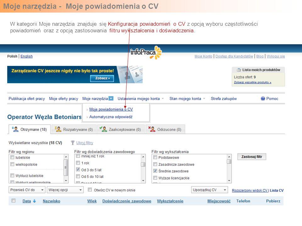 Moje narzędzia - Moje powiadomienia o CV W kategorii Moje narzędzia znajduje się Konfiguracja powiadomień o CV z opcją wyboru częstotliwości powiadomi