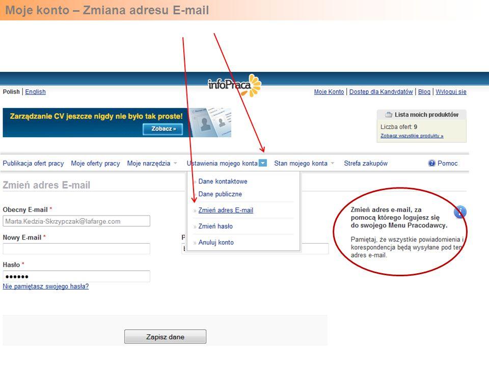 Moje konto – Zmiana adresu E-mail