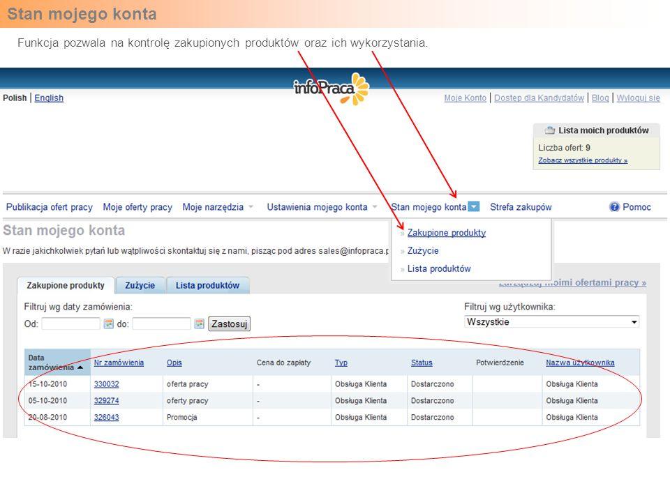 Stan mojego konta Funkcja pozwala na kontrolę zakupionych produktów oraz ich wykorzystania.