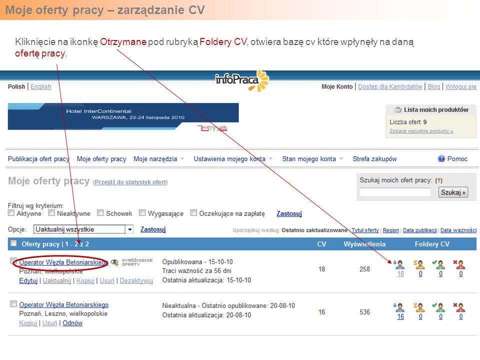 Moje oferty pracy – zarządzanie CV Kliknięcie na ikonkę Otrzymane pod rubryką Foldery CV, otwiera bazę cv które wpłynęły na daną ofertę pracy.