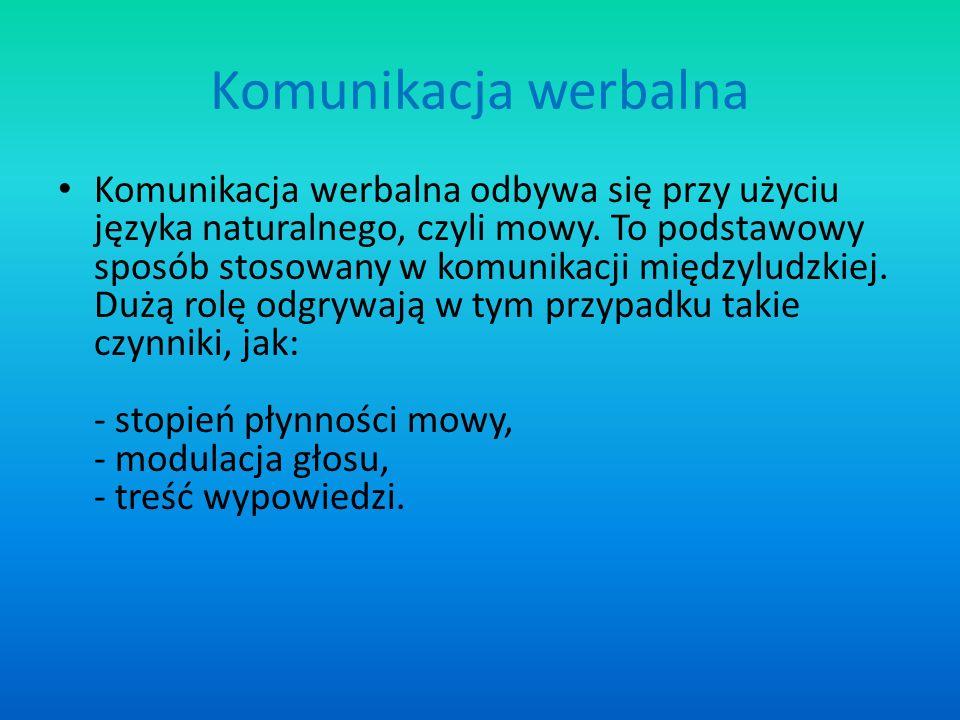 Komunikacja werbalna Komunikacja werbalna odbywa się przy użyciu języka naturalnego, czyli mowy. To podstawowy sposób stosowany w komunikacji międzylu
