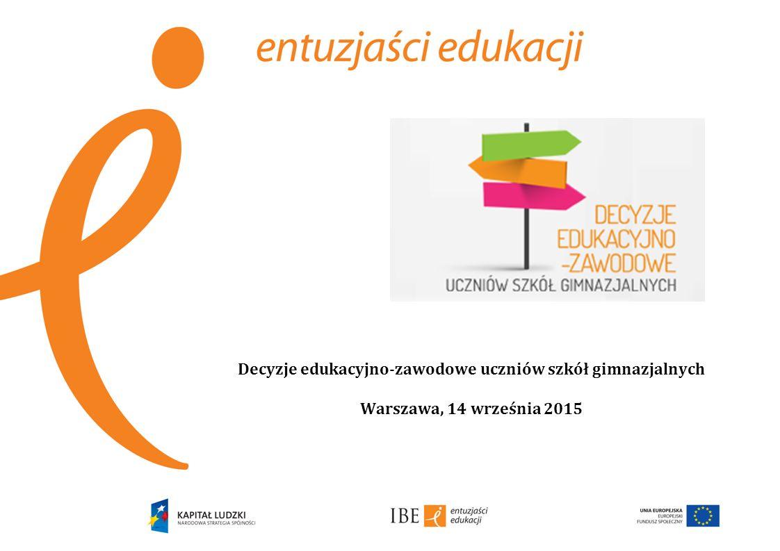 Decyzje edukacyjno-zawodowe uczniów szkół gimnazjalnych Warszawa, 14 września 2015