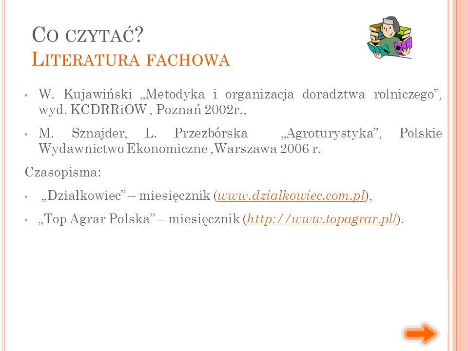 """W. Kujawiński """"Metodyka i organizacja doradztwa rolniczego"""", wyd. KCDRRiOW, Poznań 2002r., M. Sznajder, L. Przezbórska """"Agroturystyka"""", Polskie Wydawn"""