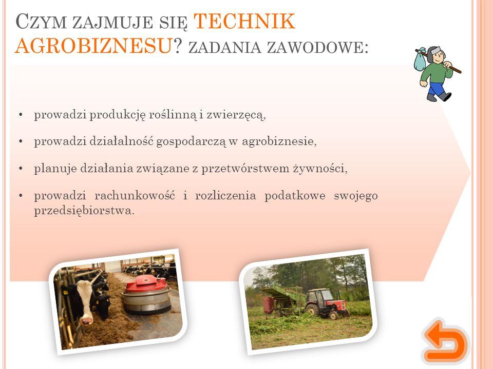 C ZYM ZAJMUJE SIĘ TECHNIK AGROBIZNESU? ZADANIA ZAWODOWE : prowadzi produkcję roślinną i zwierzęcą, prowadzi działalność gospodarczą w agrobiznesie, pl