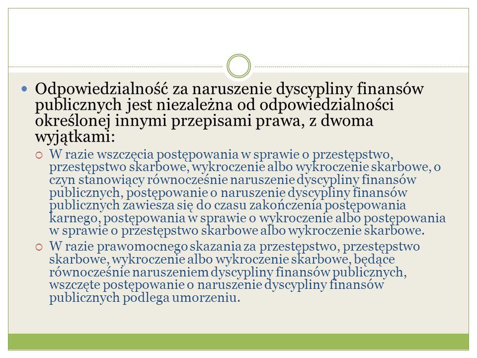 Odpowiedzialność za naruszenie dyscypliny finansów publicznych jest niezależna od odpowiedzialności określonej innymi przepisami prawa, z dwoma wyjątkami:  W razie wszczęcia postępowania w sprawie o przestępstwo, przestępstwo skarbowe, wykroczenie albo wykroczenie skarbowe, o czyn stanowiący równocześnie naruszenie dyscypliny finansów publicznych, postępowanie o naruszenie dyscypliny finansów publicznych zawiesza się do czasu zakończenia postępowania karnego, postępowania w sprawie o wykroczenie albo postępowania w sprawie o przestępstwo skarbowe albo wykroczenie skarbowe.