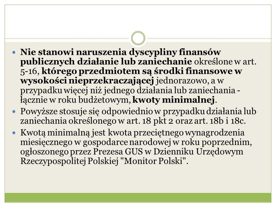 Nie stanowi naruszenia dyscypliny finansów publicznych działanie lub zaniechanie określone w art. 5-16, którego przedmiotem są środki finansowe w wyso