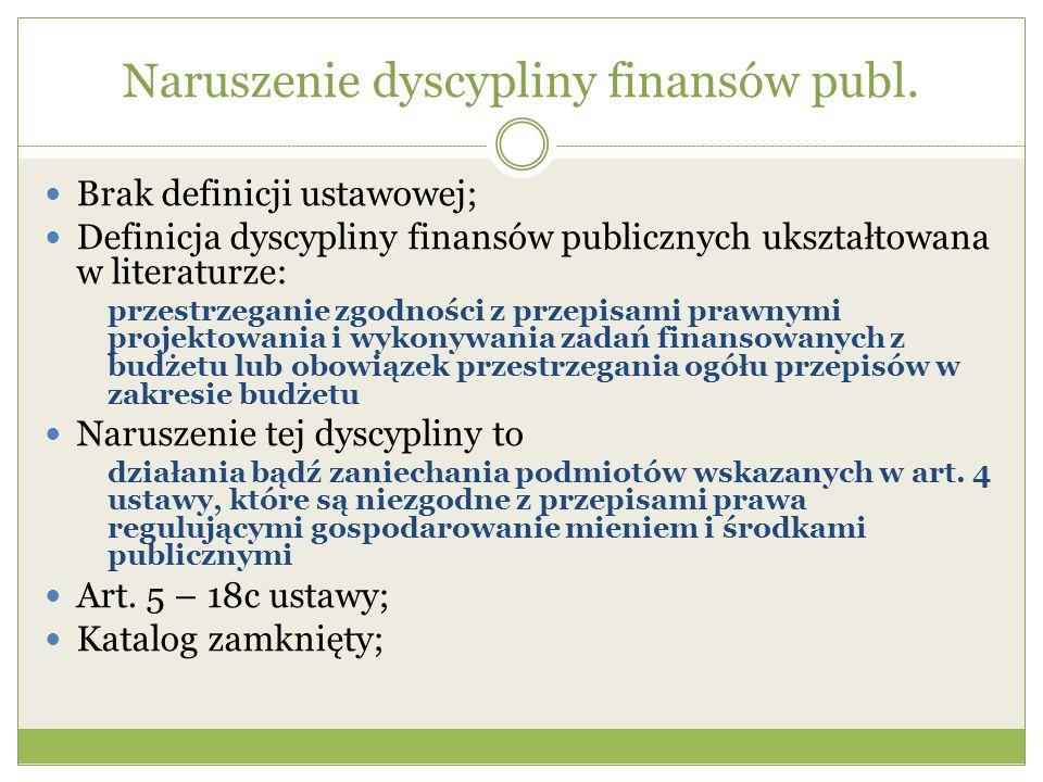 Naruszenie dyscypliny finansów publ. Brak definicji ustawowej; Definicja dyscypliny finansów publicznych ukształtowana w literaturze: przestrzeganie z