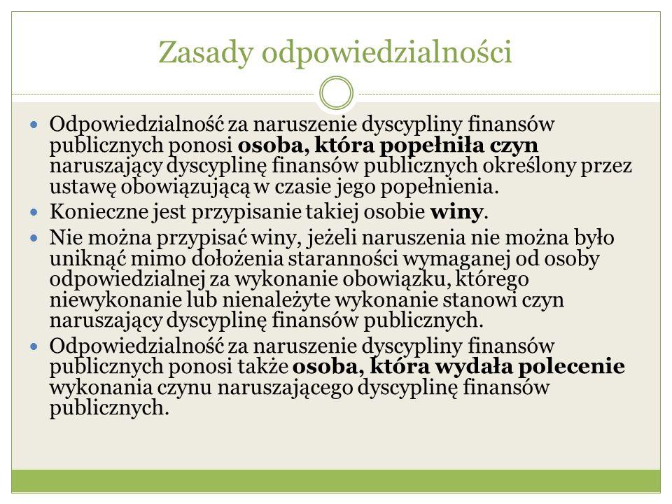Zasady odpowiedzialności Odpowiedzialność za naruszenie dyscypliny finansów publicznych ponosi osoba, która popełniła czyn naruszający dyscyplinę fina