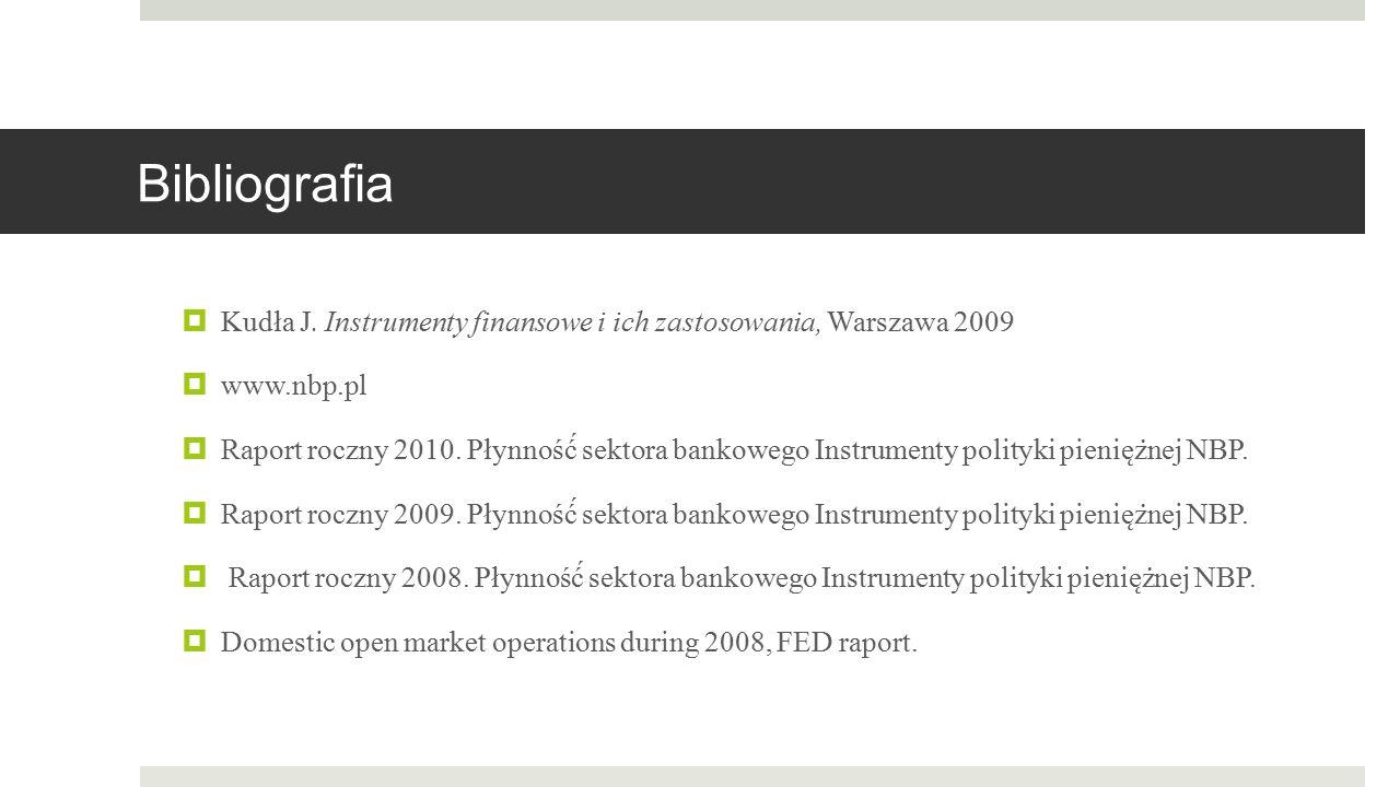 Bibliografia  Kudła J. Instrumenty finansowe i ich zastosowania, Warszawa 2009  www.nbp.pl  Raport roczny 2010. Płynność́ sektora bankowego Instru