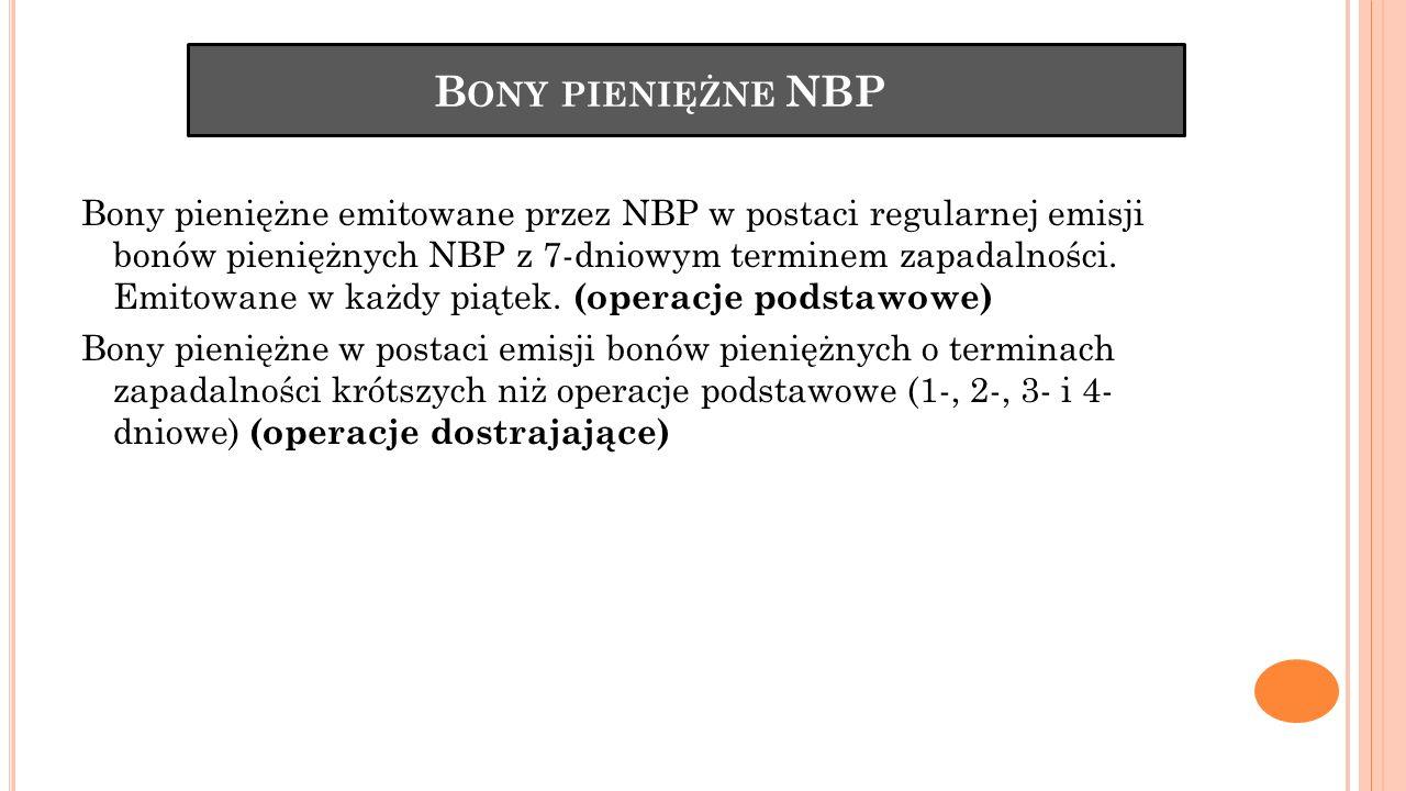 B ONY PIENIĘŻNE NBP Bony pieniężne emitowane przez NBP w postaci regularnej emisji bonów pieniężnych NBP z 7-dniowym terminem zapadalności. Emitowane