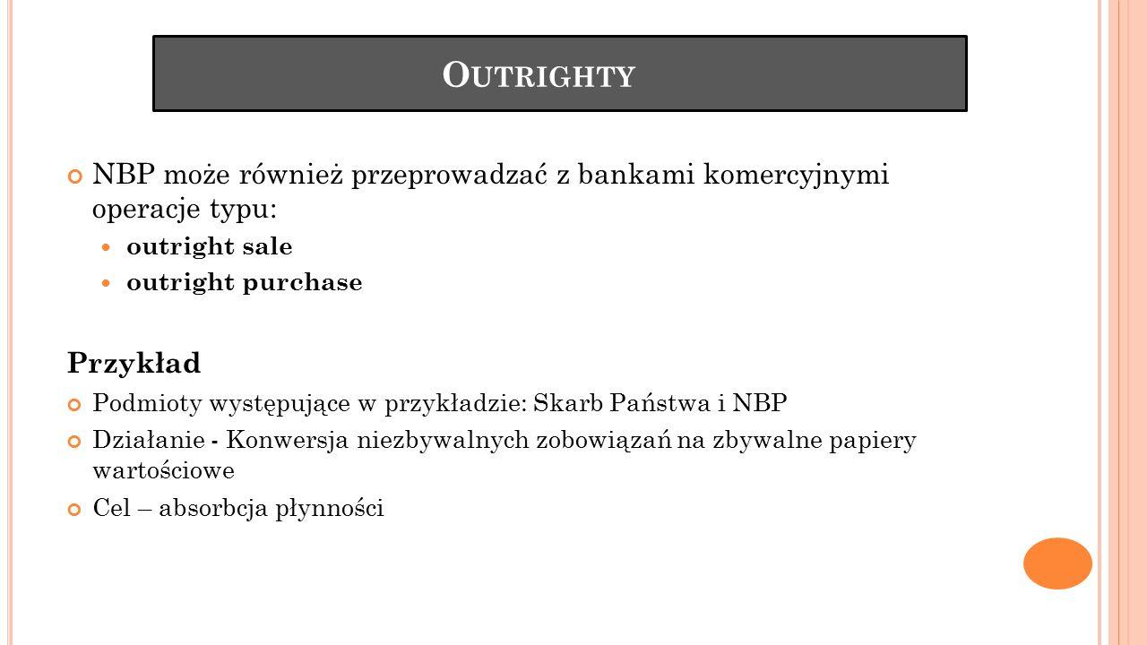 O UTRIGHTY NBP może również przeprowadzać z bankami komercyjnymi operacje typu: outright sale outright purchase Przykład Podmioty występujące w przykł