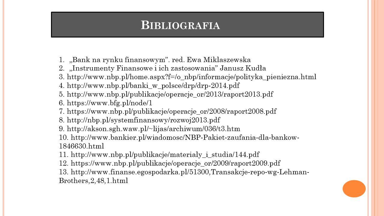 """B IBLIOGRAFIA 1.""""Bank na rynku finansowym"""". red. Ewa Miklaszewska 2.""""Instrumenty Finansowe i ich zastosowania"""" Janusz Kudła 3. http://www.nbp.pl/home."""