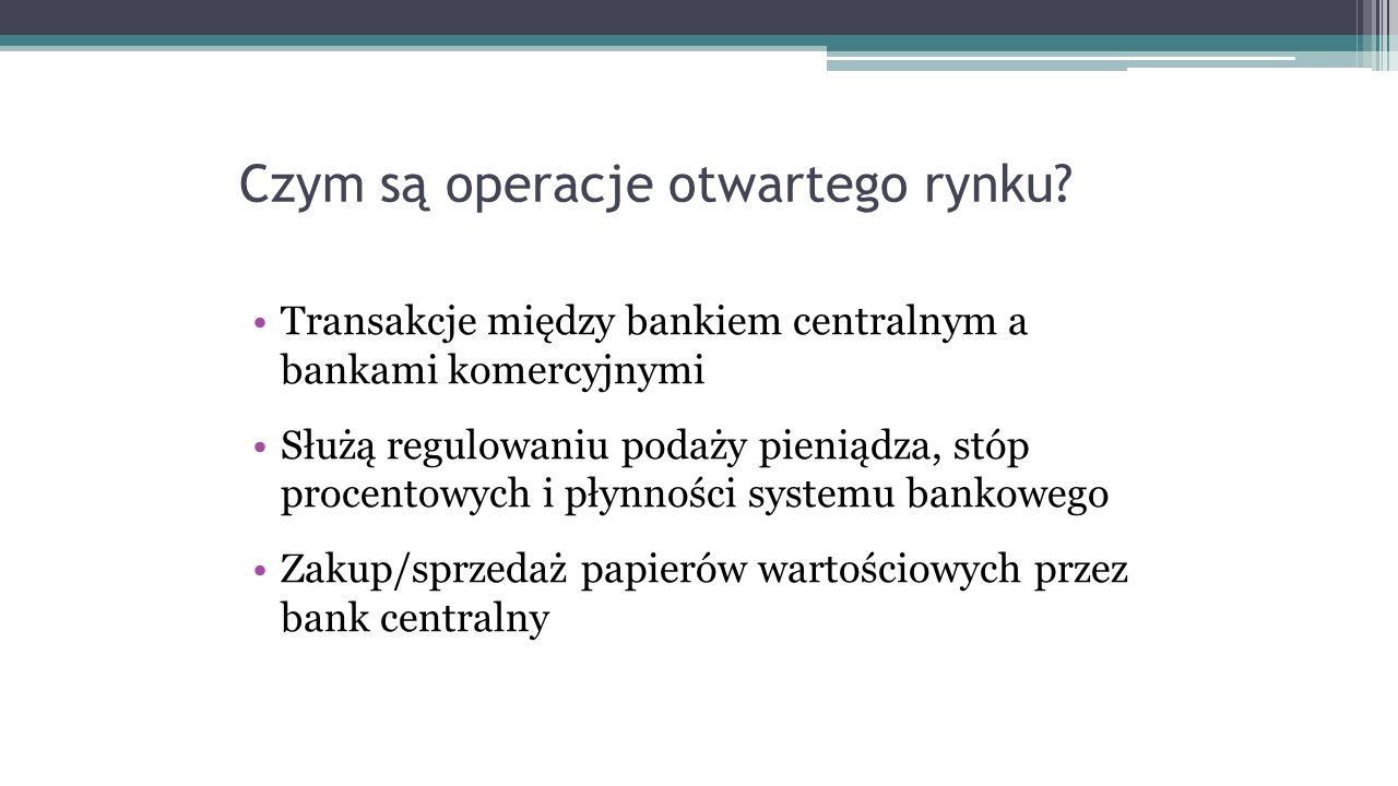 Czym są operacje otwartego rynku? Transakcje między bankiem centralnym a bankami komercyjnymi Służą regulowaniu podaży pieniądza, stóp procentowych i