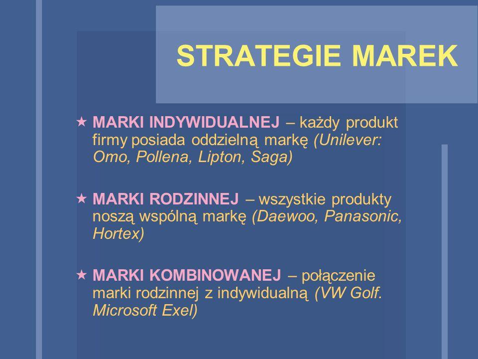 STRATEGIE MAREK  MARKI INDYWIDUALNEJ – każdy produkt firmy posiada oddzielną markę (Unilever: Omo, Pollena, Lipton, Saga)  MARKI RODZINNEJ – wszystk