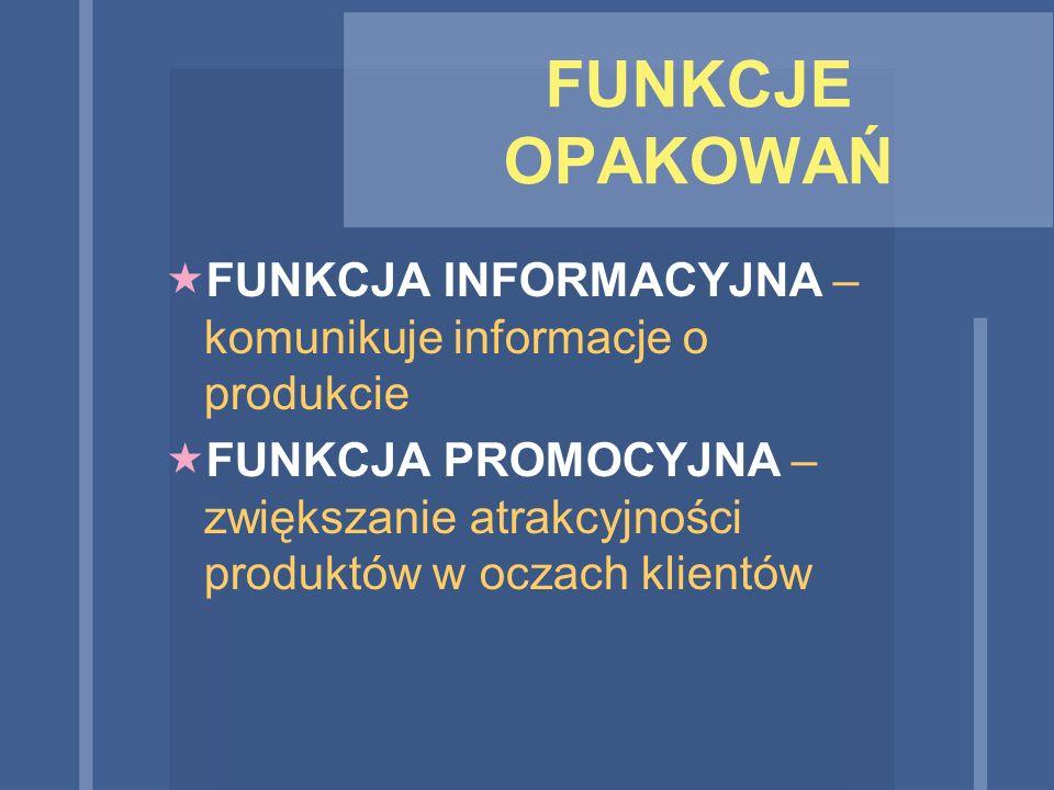 FUNKCJE OPAKOWAŃ  FUNKCJA INFORMACYJNA – komunikuje informacje o produkcie  FUNKCJA PROMOCYJNA – zwiększanie atrakcyjności produktów w oczach klient