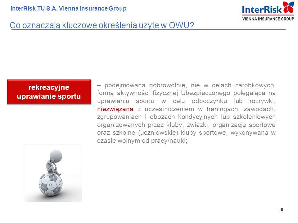 10 InterRisk TU S.A. Vienna Insurance Group 10 – podejmowana dobrowolnie, nie w celach zarobkowych, forma aktywności fizycznej Ubezpieczonego polegają
