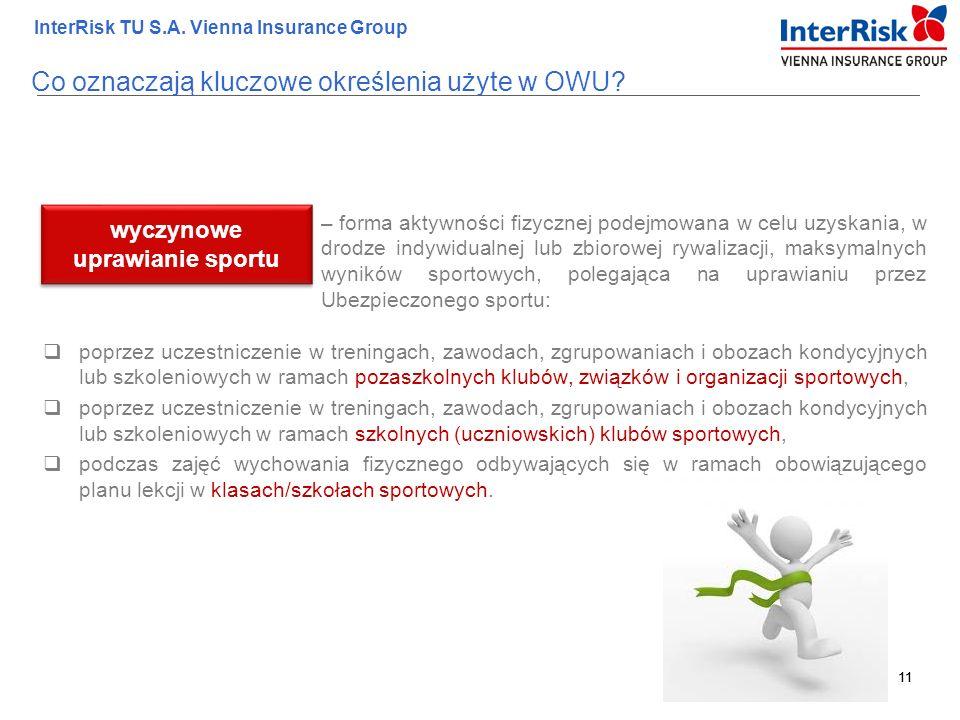 11 InterRisk TU S.A. Vienna Insurance Group 11 – forma aktywności fizycznej podejmowana w celu uzyskania, w drodze indywidualnej lub zbiorowej rywaliz