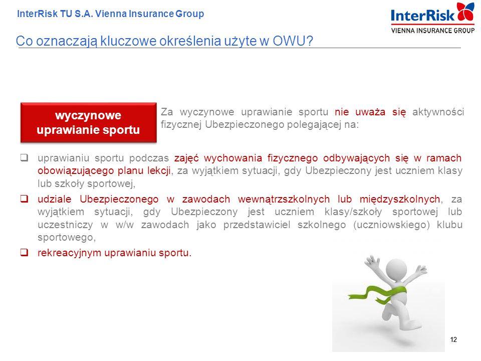 12 InterRisk TU S.A. Vienna Insurance Group 12 Za wyczynowe uprawianie sportu nie uważa się aktywności fizycznej Ubezpieczonego polegającej na: wyczyn