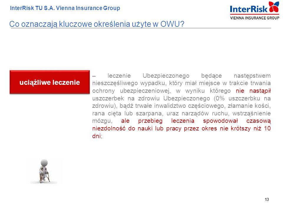 13 InterRisk TU S.A. Vienna Insurance Group 13 – leczenie Ubezpieczonego będące następstwem nieszczęśliwego wypadku, który miał miejsce w trakcie trwa