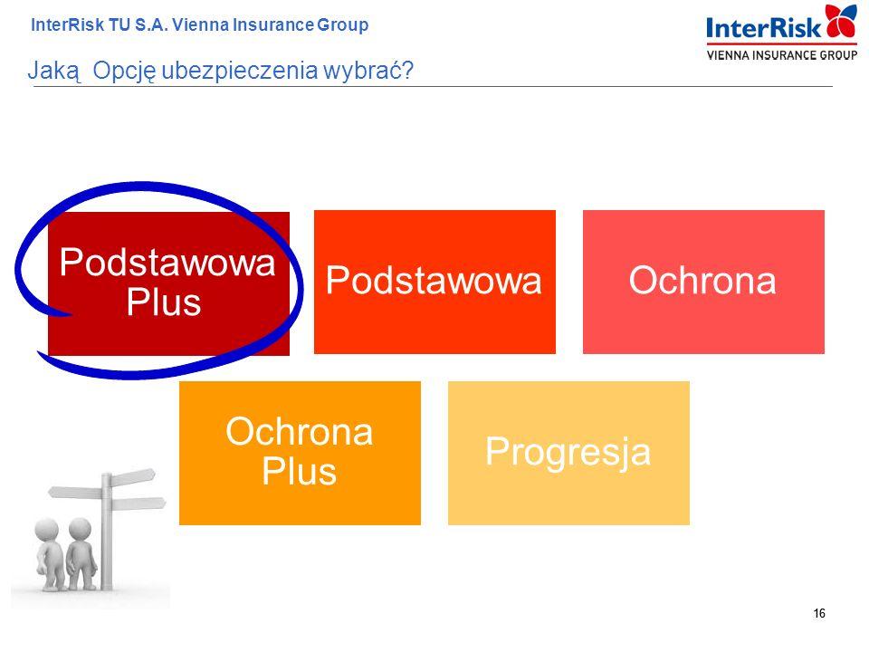 16 InterRisk TU S.A. Vienna Insurance Group 16 Jaką Opcję ubezpieczenia wybrać? Podstawowa Plus PodstawowaOchrona Ochrona Plus Progresja