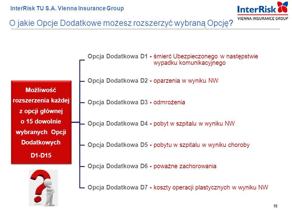 18 InterRisk TU S.A. Vienna Insurance Group 18 Możliwość rozszerzenia każdej z opcji głównej o 15 dowolnie wybranych Opcji Dodatkowych D1-D15 Opcja Do