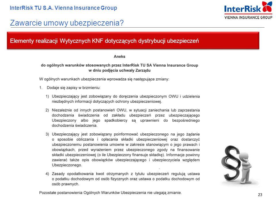 23 InterRisk TU S.A. Vienna Insurance Group 23 Elementy realizacji Wytycznych KNF dotyczących dystrybucji ubezpieczeń Zawarcie umowy ubezpieczenia?