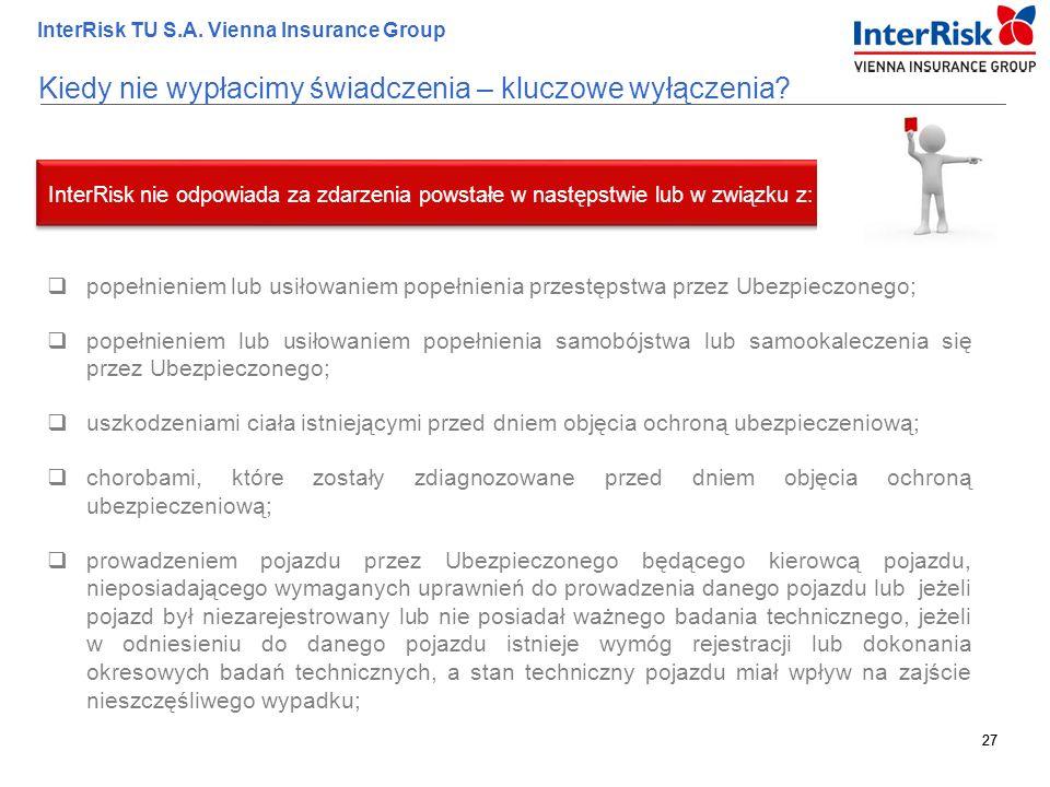 27 InterRisk TU S.A. Vienna Insurance Group 27 Kiedy nie wypłacimy świadczenia – kluczowe wyłączenia?  popełnieniem lub usiłowaniem popełnienia przes