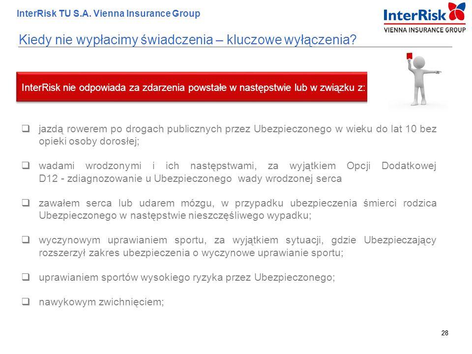 28 InterRisk TU S.A. Vienna Insurance Group 28 Kiedy nie wypłacimy świadczenia – kluczowe wyłączenia?  jazdą rowerem po drogach publicznych przez Ube