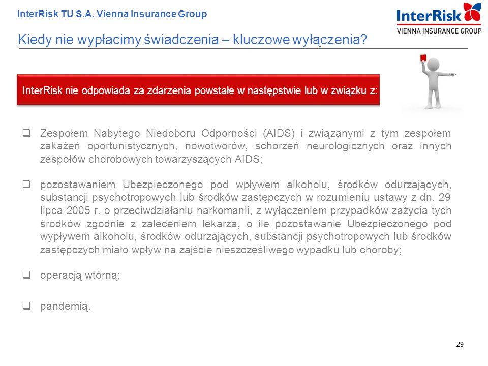 29 InterRisk TU S.A. Vienna Insurance Group 29 Kiedy nie wypłacimy świadczenia – kluczowe wyłączenia?  Zespołem Nabytego Niedoboru Odporności (AIDS)