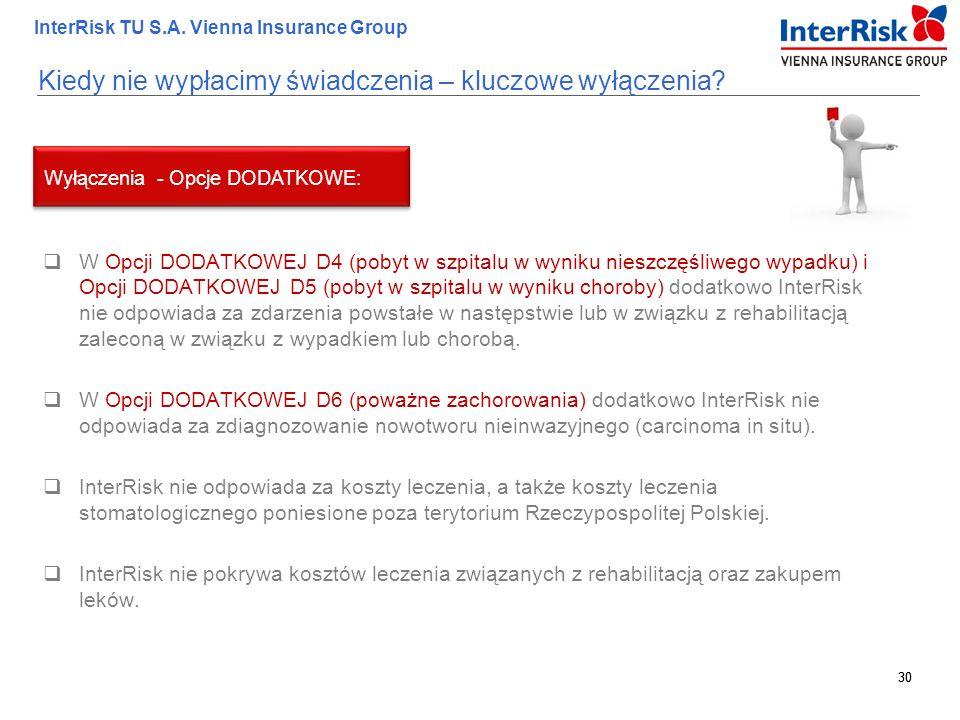 30 InterRisk TU S.A. Vienna Insurance Group 30 Kiedy nie wypłacimy świadczenia – kluczowe wyłączenia?  W Opcji DODATKOWEJ D4 (pobyt w szpitalu w wyni