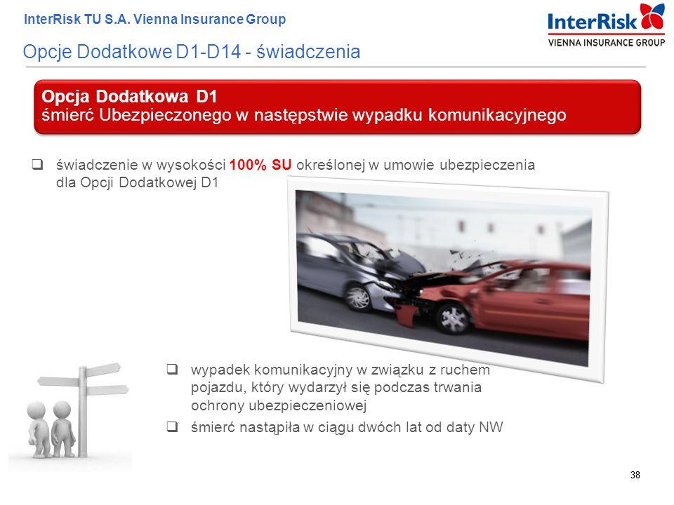 38 InterRisk TU S.A. Vienna Insurance Group 38 Opcje Dodatkowe D1-D14 - świadczenia Opcja Dodatkowa D1 śmierć Ubezpieczonego w następstwie wypadku kom