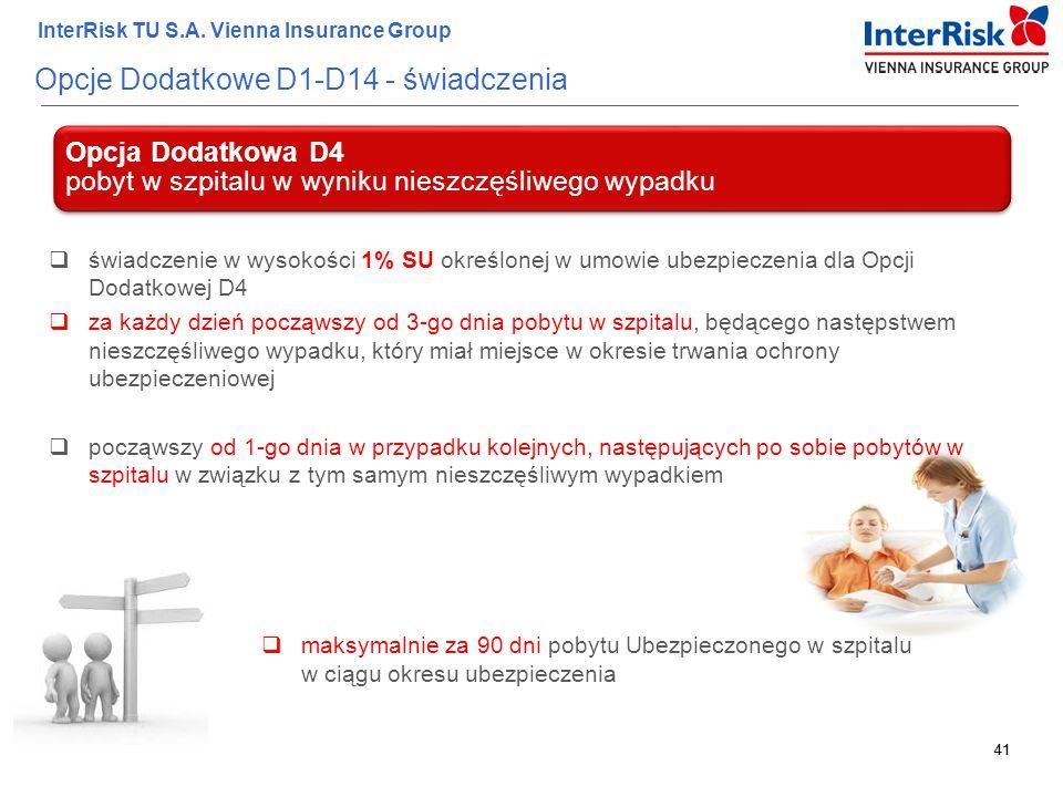 41 InterRisk TU S.A. Vienna Insurance Group 41 Opcje Dodatkowe D1-D14 - świadczenia Opcja Dodatkowa D4 pobyt w szpitalu w wyniku nieszczęśliwego wypad