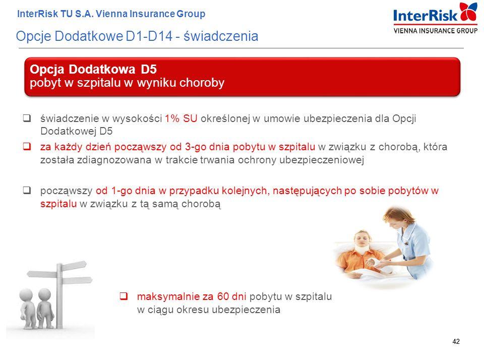 42 InterRisk TU S.A. Vienna Insurance Group 42 Opcje Dodatkowe D1-D14 - świadczenia Opcja Dodatkowa D5 pobyt w szpitalu w wyniku choroby  świadczenie