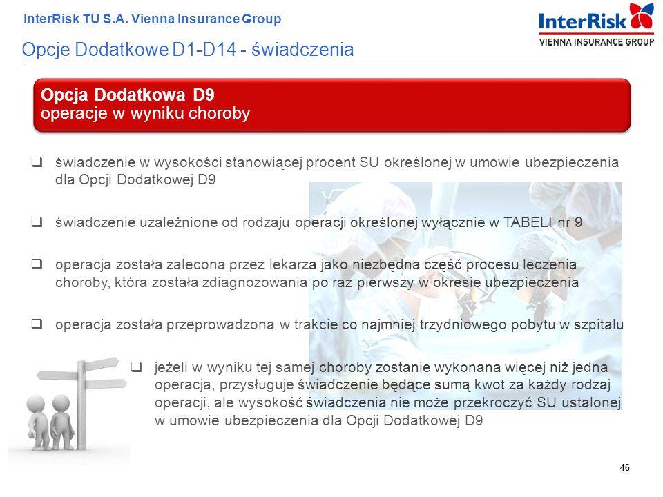 46 InterRisk TU S.A. Vienna Insurance Group 46 Opcje Dodatkowe D1-D14 - świadczenia Opcja Dodatkowa D9 operacje w wyniku choroby  świadczenie w wysok