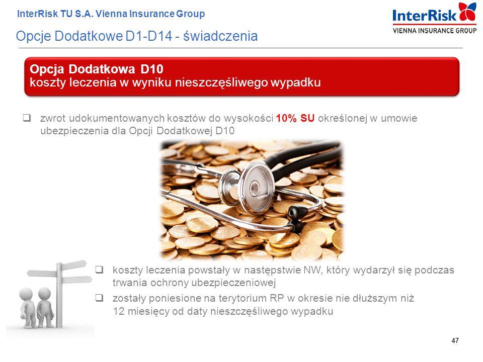 47 InterRisk TU S.A. Vienna Insurance Group 47 Opcje Dodatkowe D1-D14 - świadczenia Opcja Dodatkowa D10 koszty leczenia w wyniku nieszczęśliwego wypad