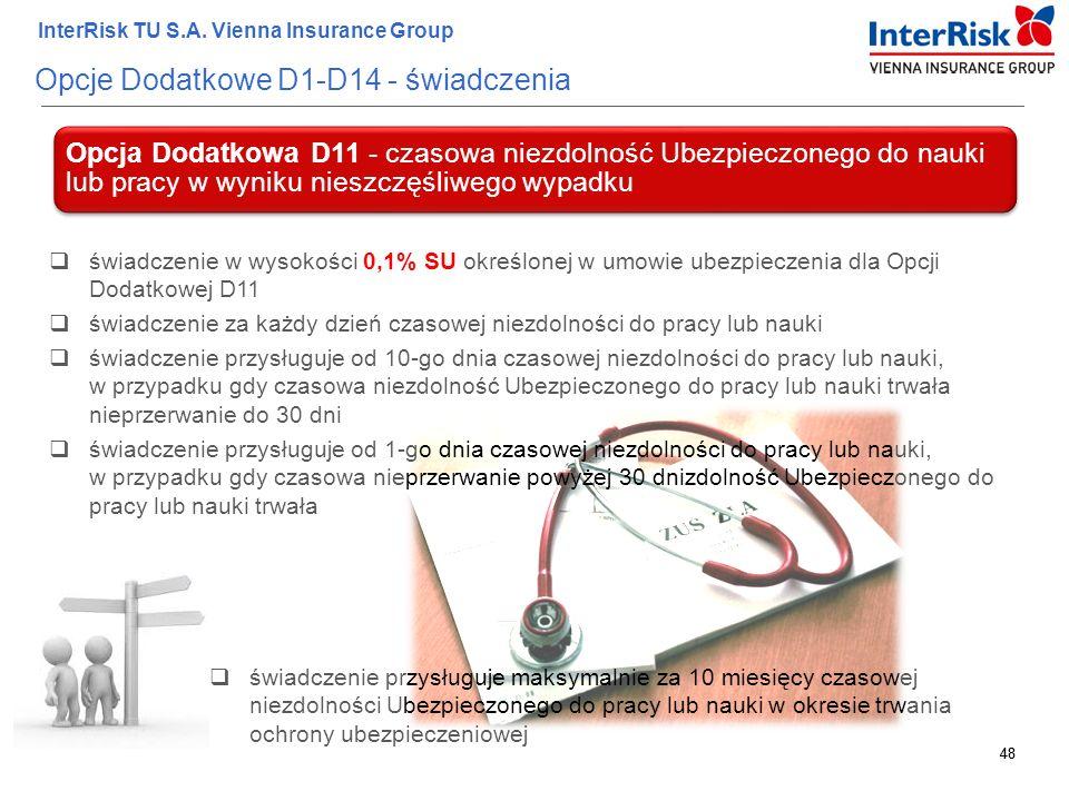 48 InterRisk TU S.A. Vienna Insurance Group 48 Opcje Dodatkowe D1-D14 - świadczenia Opcja Dodatkowa D11 - czasowa niezdolność Ubezpieczonego do nauki