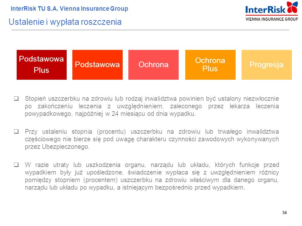 54 InterRisk TU S.A. Vienna Insurance Group 54 Ustalenie i wypłata roszczenia  Stopień uszczerbku na zdrowiu lub rodzaj inwalidztwa powinien być usta