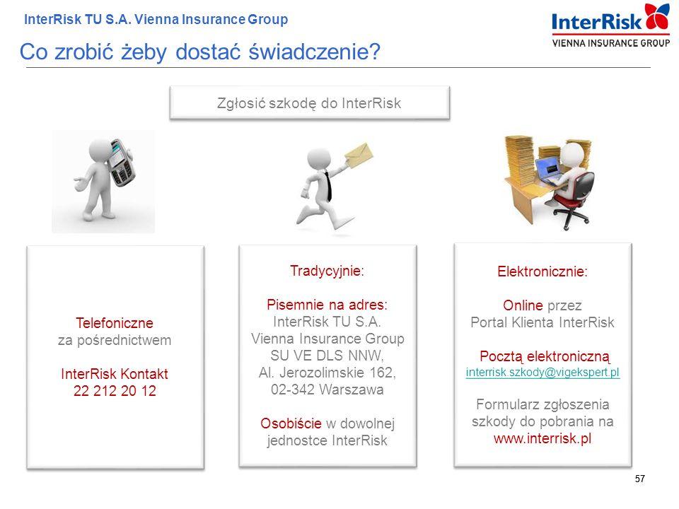 57 InterRisk TU S.A. Vienna Insurance Group 57 Co zrobić żeby dostać świadczenie? Zgłosić szkodę do InterRisk Telefoniczne za pośrednictwem InterRisk