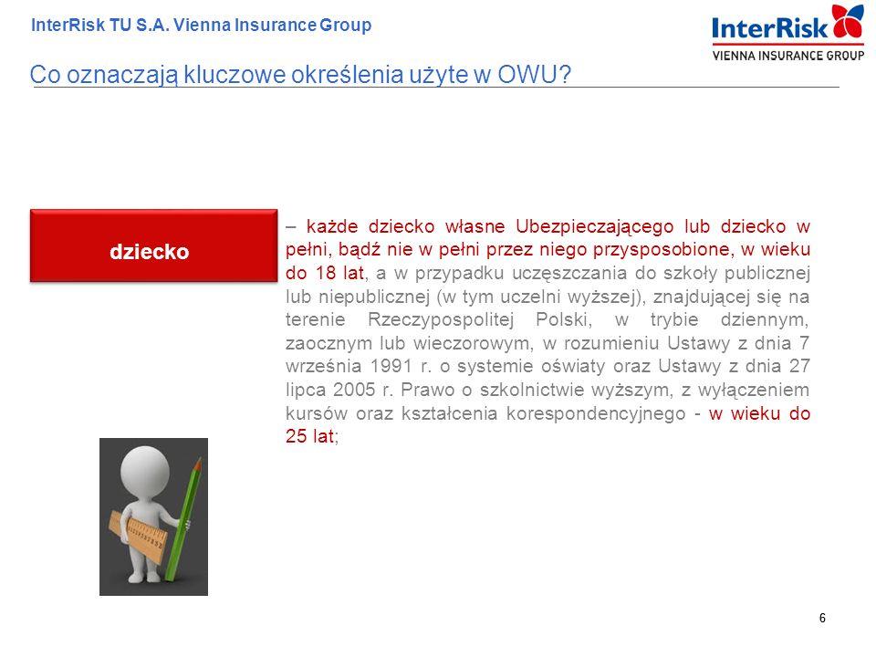 6 InterRisk TU S.A. Vienna Insurance Group 6 – każde dziecko własne Ubezpieczającego lub dziecko w pełni, bądź nie w pełni przez niego przysposobione,