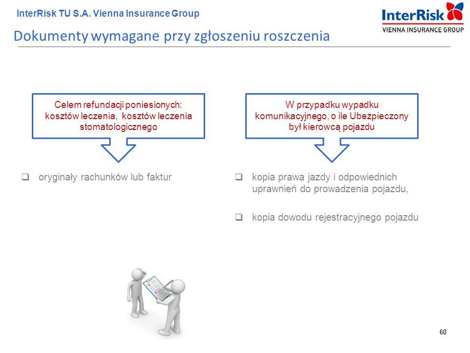 60 InterRisk TU S.A. Vienna Insurance Group 60 Dokumenty wymagane przy zgłoszeniu roszczenia  oryginały rachunków lub faktur Celem refundacji poniesi