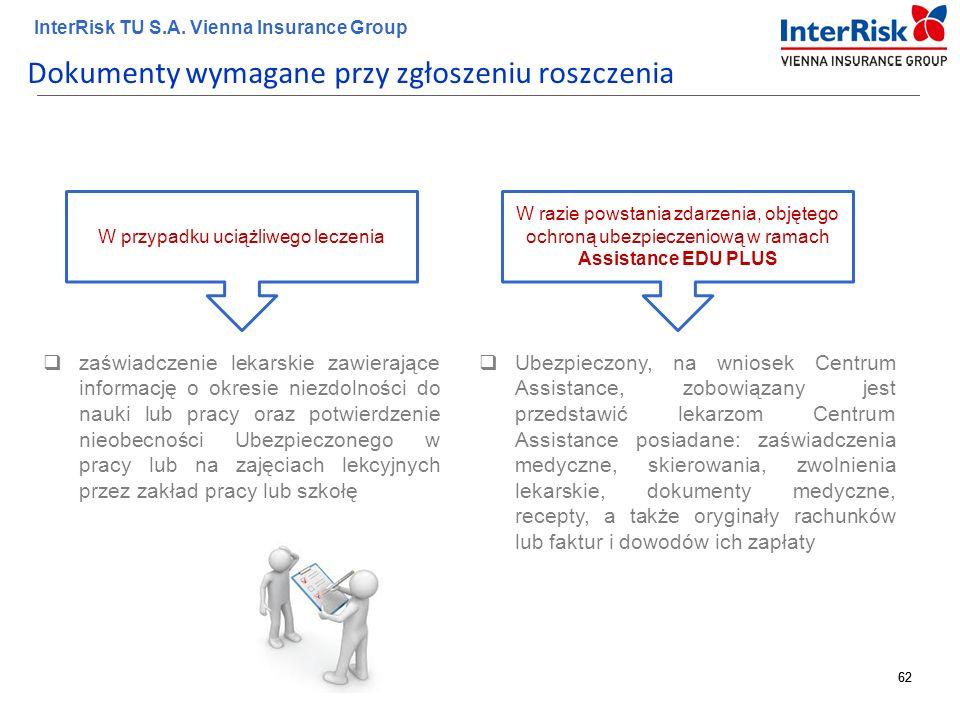 62 InterRisk TU S.A. Vienna Insurance Group 62 Dokumenty wymagane przy zgłoszeniu roszczenia  zaświadczenie lekarskie zawierające informację o okresi