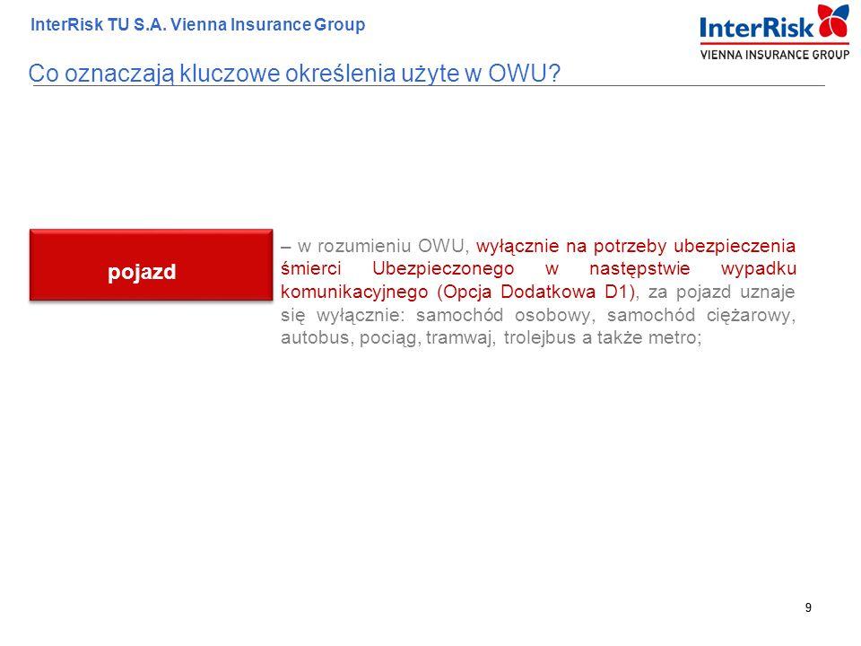 9 InterRisk TU S.A. Vienna Insurance Group 9 – w rozumieniu OWU, wyłącznie na potrzeby ubezpieczenia śmierci Ubezpieczonego w następstwie wypadku komu