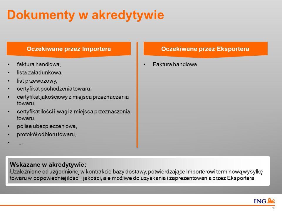 Do not put content in the Brand Signature area 16 Dokumenty w akredytywie faktura handlowa, lista załadunkowa, list przewozowy, certyfikat pochodzenia