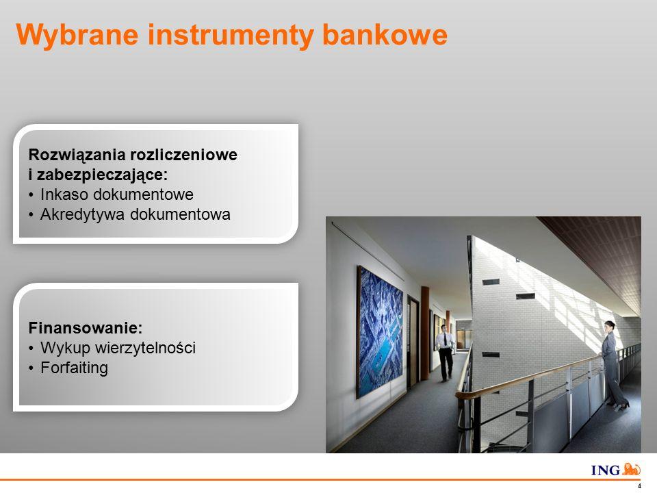 Do not put content in the Brand Signature area 4 Wybrane instrumenty bankowe Rozwiązania rozliczeniowe i zabezpieczające: Inkaso dokumentowe Akredytyw