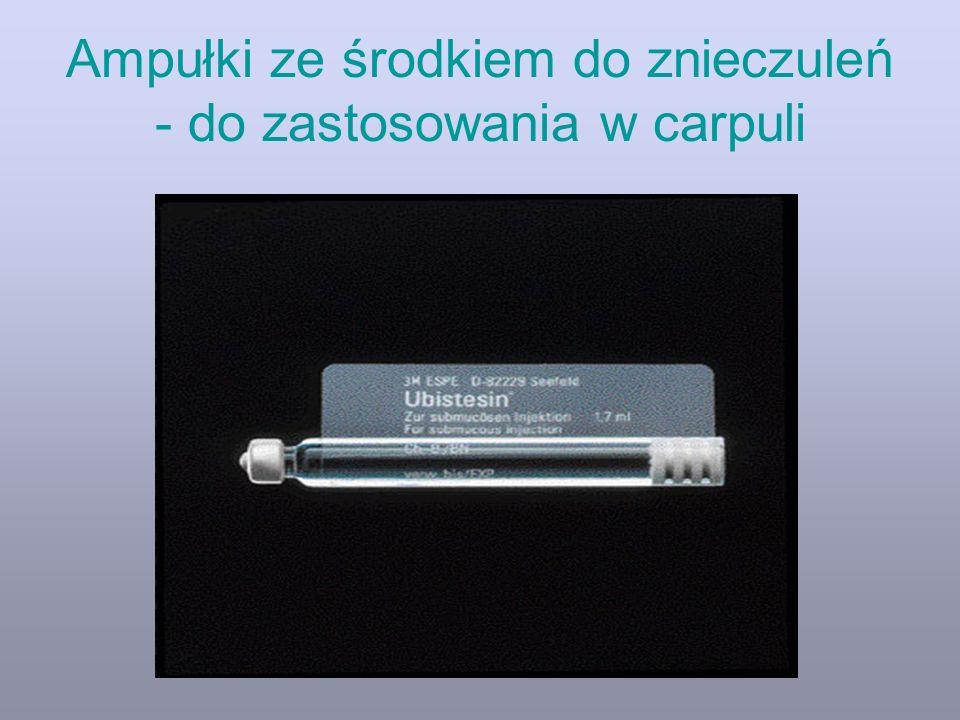 Ampułki ze środkiem do znieczuleń - do zastosowania w carpuli