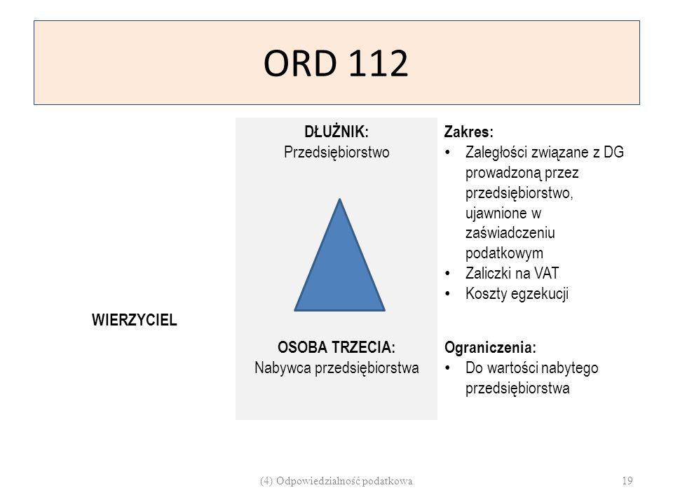 ORD 112 DŁUŻNIK: Przedsiębiorstwo Zakres: Zaległości związane z DG prowadzoną przez przedsiębiorstwo, ujawnione w zaświadczeniu podatkowym Zaliczki na
